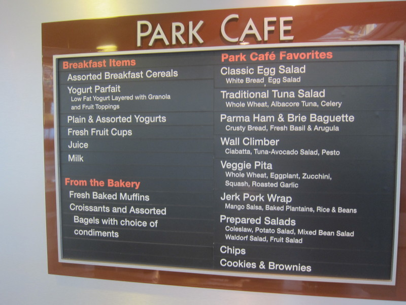 Radiance Of The Seas Park Cafe Menu